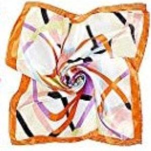 3/$15 Orange Abstract Print Silk Scarf NWT